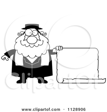 Cartoon Of A Black And White Rabbi With A Sign - Vector Clipart by Cory Thoman