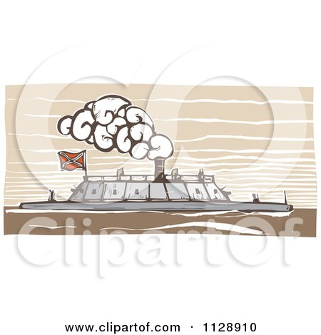 Clipart Of A Woodcut Of The USS Merrimac Ship - Royalty Free Vector Illustration by xunantunich