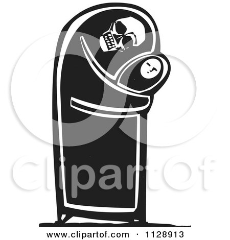 Clipart Of A Woodcut Of A Skeleton Hugging A Baby In Black And White - Royalty Free Vector Illustration by xunantunich