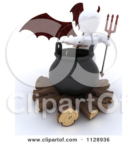 Clipart Of A 3d White Character Devil By A Halloween Cauldron - Royalty Free CGI Illustration by KJ Pargeter