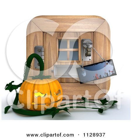 Clipart Of A 3d Halloween Jackolantern Pumpkin By A Door With A Knob Sign - Royalty Free CGI Illustration by KJ Pargeter