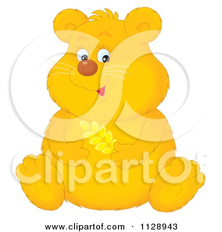 Cartoon Of A Cute Chubby Golden Hamster Holding Wheat - Royalty Free Clipart by Alex Bannykh
