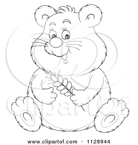 Cartoon Of An Outlined Cute Chubby Hamster Holding Wheat - Royalty Free Clipart by Alex Bannykh