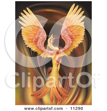 Majestic Phoenix Firebird Stretching its Wings Over a Fiery Background Clipart Illustration by AtStockIllustration