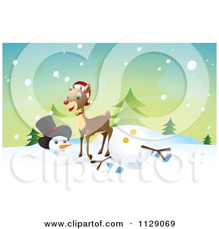 Cartoon Of A Reindeer Knocking Over A Snowman - Royalty Free Vector Clipart by NoahsKnight
