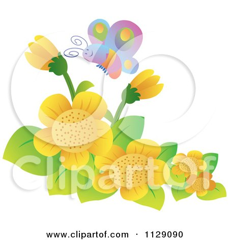 Cartoon Of A Happy Butterfly Over Yellow Flowers - Royalty Free Vector Clipart by YUHAIZAN YUNUS