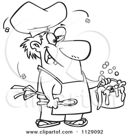 Cartoon Of An Outlined Stinky Chef Serving A Gross Stew - Royalty Free Vector Clipart by toonaday
