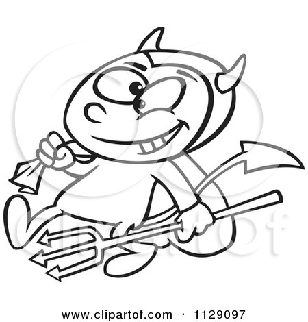 Cartoon Of An Outlined Devil Boy Carrying A Sack And Pitchfork - Royalty Free Vector Clipart by toonaday