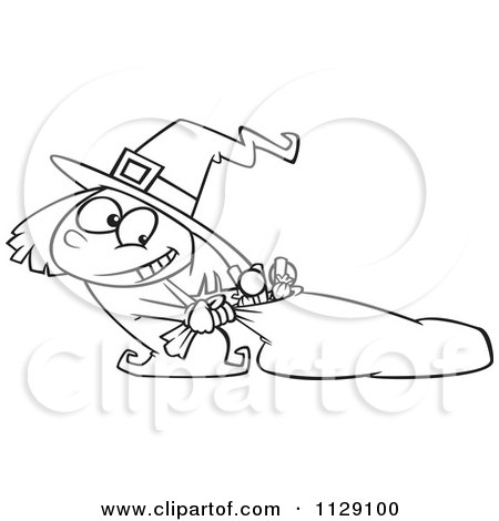 Cartoon Of An Outlined Halloween Witch Girl Hauling Her Candy Sack