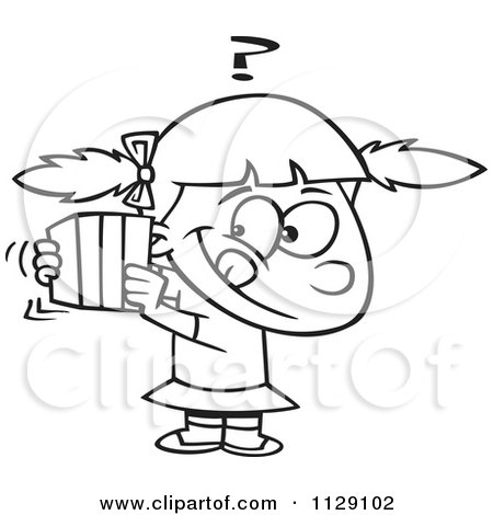 Cartoon Of An Outlined Girl Trying To Guess A Gift - Royalty Free Vector Clipart by toonaday