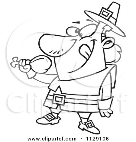Cartoon Of An Outlined Hungry Thanksgiving Pilgrim Eating A Drumstick - Royalty Free Vector Clipart by toonaday