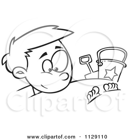 Cartoon Of An Outlined Happy Boy Buried In Beach Sand - Royalty Free Vector Clipart by toonaday