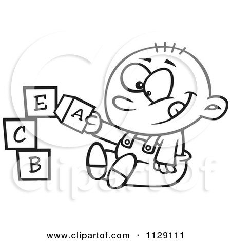 Cartoon Of An Outlined Happy Baby Boy Playing With Alphabet Blocks - Royalty Free Vector Clipart by toonaday