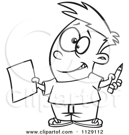 Cartoon Of An Outlined Happy Boy Holding A Sheet Of Paper And A Pencil - Royalty Free Vector Clipart by toonaday