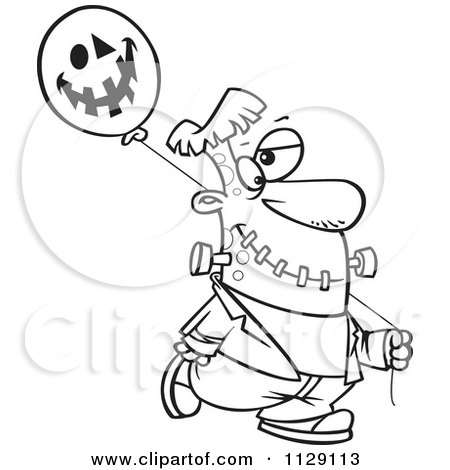 Cartoon Of An Outlined Frankenstein With A Halloween Jackolantern Balloon - Royalty Free Vector Clipart by toonaday
