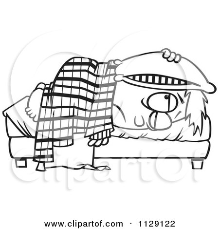 Cartoon Of An Outlined Tired Boy Lying In Bed With A Pillow Over His Head - Royalty Free Vector Clipart by toonaday