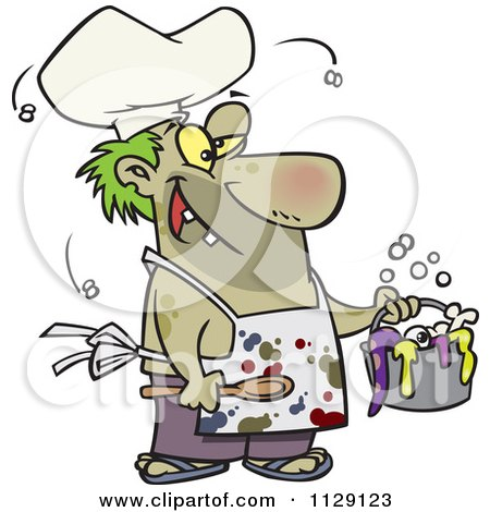 Cartoon Of A Stinky Chef Serving A Gross Stew - Royalty Free Vector Clipart by Ron Leishman