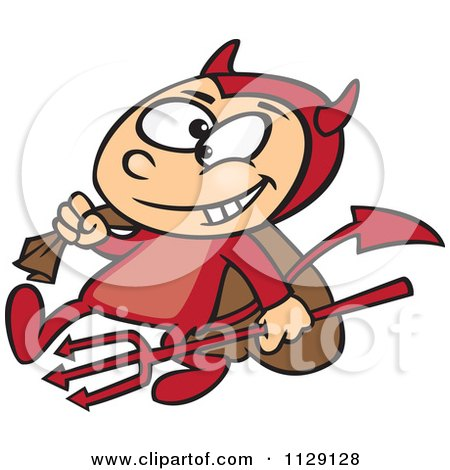 Cartoon Of A Devil Boy Carrying A Sack And Pitchfork - Royalty Free Vector Clipart by Ron Leishman