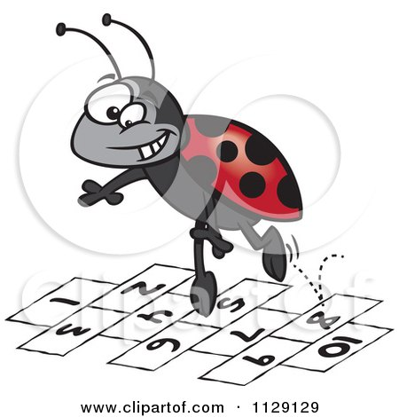 Cartoon Of A Ladybug Jumping Over Numbers - Royalty Free Vector Clipart by toonaday