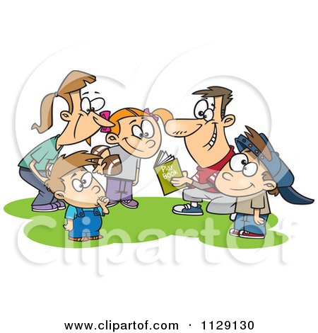 Cartoon Of A Huddling Family Going Over A Football Play Book - Royalty Free Vector Clipart by toonaday