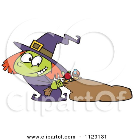 Cartoon Of A Halloween Witch Girl Hauling Her Candy Sack - Royalty Free Vector Clipart by toonaday
