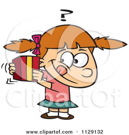 Cartoon Of A Girl Trying To Guess A Gift - Royalty Free Vector Clipart by toonaday