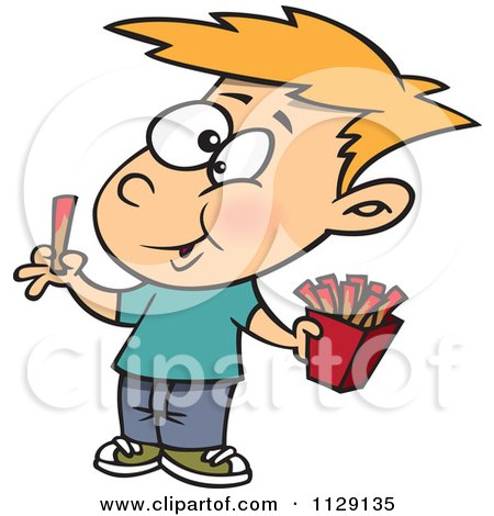 Cartoon Of A Happy Boy Eating French Fries - Royalty Free Vector Clipart by toonaday