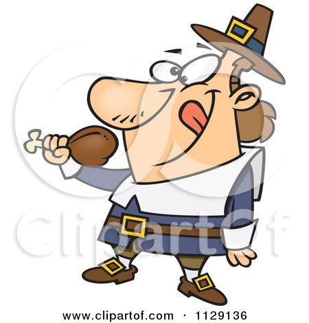 Cartoon Of A Hungry Thanksgiving Pilgrim Eating A Drumstick - Royalty Free Vector Clipart by toonaday