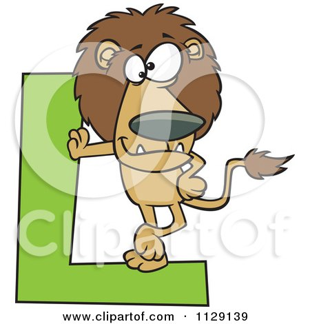 Cartoon Of A Lion Leaning On A Letter L - Royalty Free Vector Clipart by toonaday