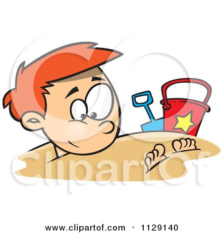 Cartoon Of A Happy Red Haired Boy Buried In Beach Sand - Royalty Free Vector Clipart by toonaday