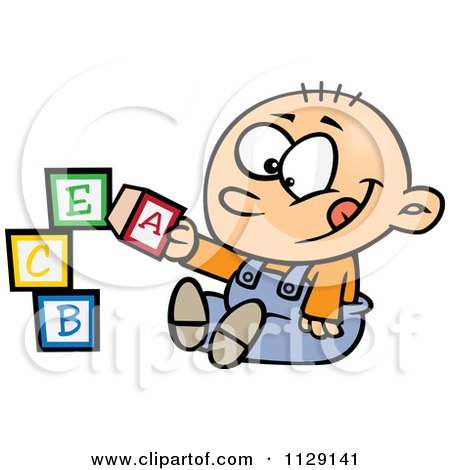 Cartoon Of A Happy Baby Boy Playing With Alphabet Blocks - Royalty Free Vector Clipart by toonaday