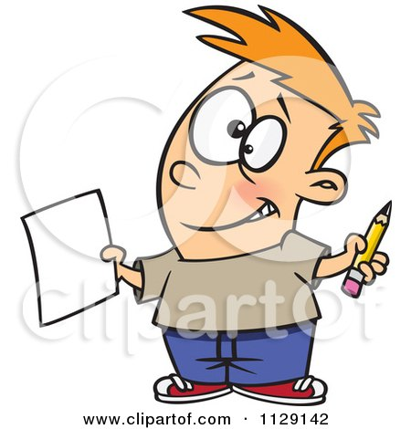 Cartoon Of A Happy Boy Holding A Sheet Of Paper And A Pencil - Royalty Free Vector Clipart by toonaday