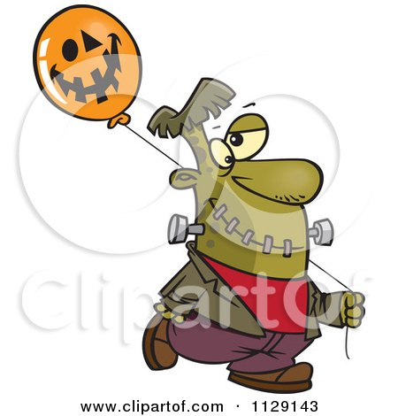 Cartoon Of Frankenstein With A Halloween Jackolantern Balloon - Royalty Free Vector Clipart by toonaday