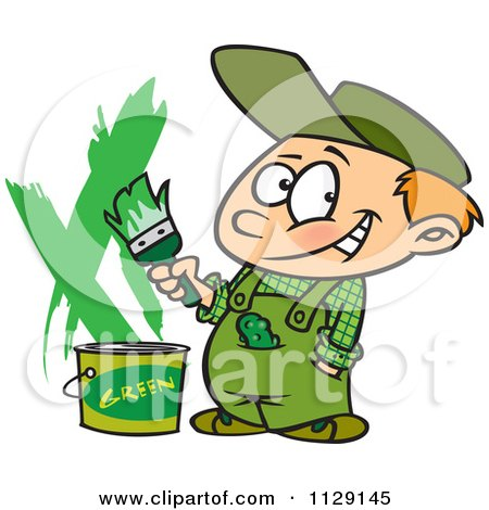 Cartoon Of A Boy Painting A Wall Green - Royalty Free Vector Clipart by toonaday
