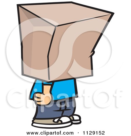 Cartoon Of A Shamed Boy With A Bag On His Head - Royalty Free Vector Clipart by toonaday