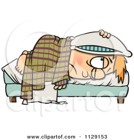 Cartoon Of A Tired Boy Lying In Bed With A Pillow Over His Head - Royalty Free Vector Clipart by toonaday
