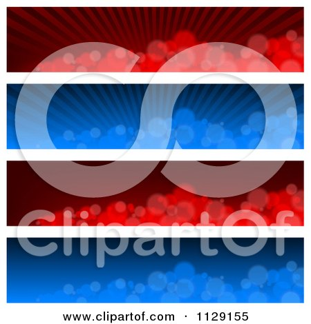 Clipart Of Blue And Red Blurry Bubble And Ray Website Banners - Royalty Free Vector Illustration by dero