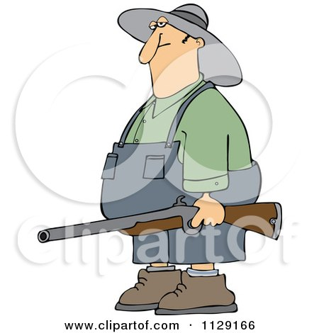 Cartoon Of A Redneck Hillbilly Man Carrying A Rifle - Royalty Free Vector Clipart by djart