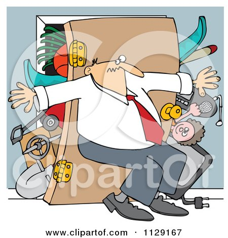 Cartoon Of A Man Pushing Back Against A Bulging Closet Door - Royalty Free Vector Clipart by djart
