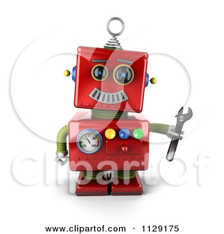 Clipart Of A 3d Red Repair Robot Holding A Wrench - Royalty Free CGI Illustration by stockillustrations