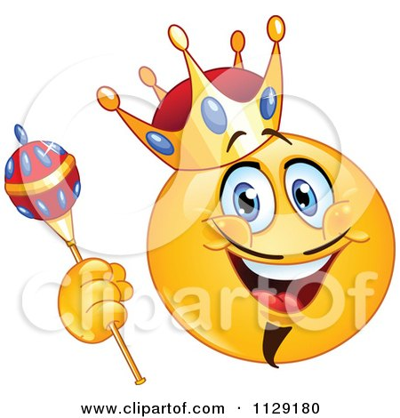 Cartoon Of A Yellow King Emoticon Smiley - Royalty Free Vector Clipart by yayayoyo