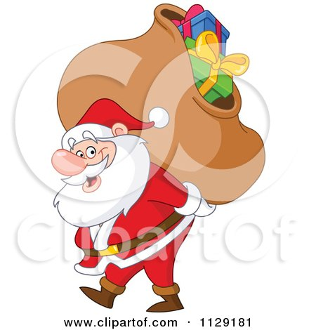 Cartoon Of Santa Carrying A Heavy Bag Of Christmas Presents - Royalty Free Vector Clipart by yayayoyo