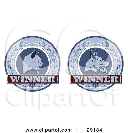 Clipart Of Winner Cat And Dog Laurel Wreath Pet Award Medals - Royalty Free Vector Illustration by AtStockIllustration