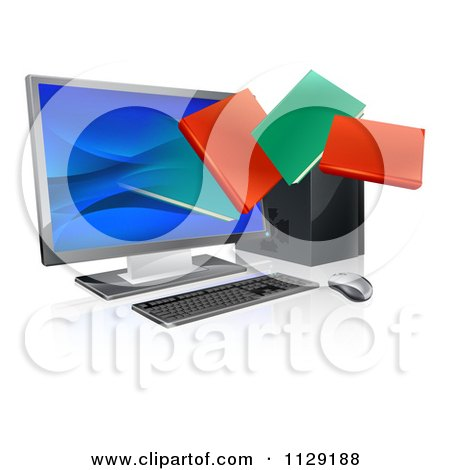 Clipart Of 3d Digital Books Emerging From A Desktop Computer Screen - Royalty Free Vector Illustration by AtStockIllustration