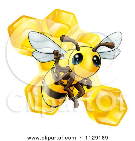 Cartoon Of A Cute Bee Waving Over Honeycombs - Royalty Free Vector Clipart by AtStockIllustration