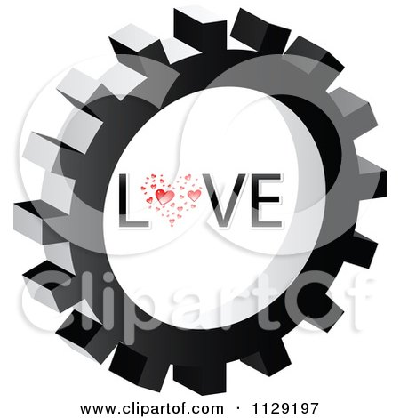Clipart Of A Love Gear Cog Icon - Royalty Free Vector Illustration by Andrei Marincas