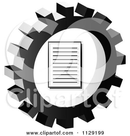 Clipart Of A Grayscale Document Gear Cog Icon - Royalty Free Vector Illustration by Andrei Marincas