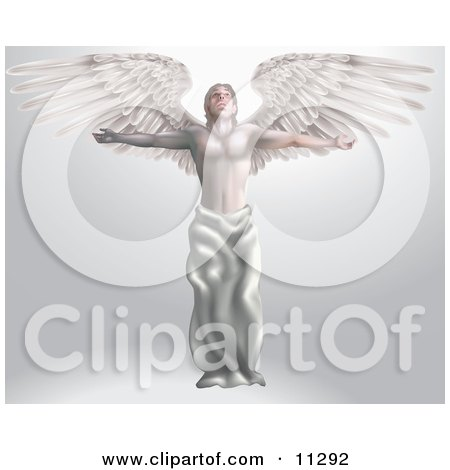 Majestic Male Guardian Archangel With Arms And Wings Stretched Out Looking Up At Heaven Clipart Picture