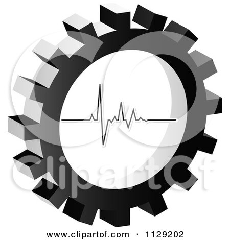 Clipart Of A Grayscale Pulse Gear Cog Icon - Royalty Free Vector Illustration by Andrei Marincas