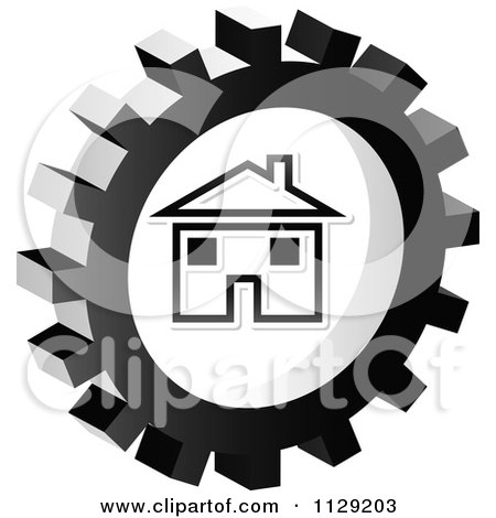 Clipart Of A Grayscale Home Gear Cog Icon - Royalty Free Vector Illustration by Andrei Marincas